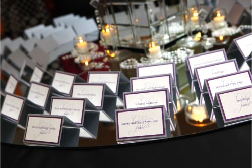 Purple and silver tented Bat Mitzvah Escort Cards