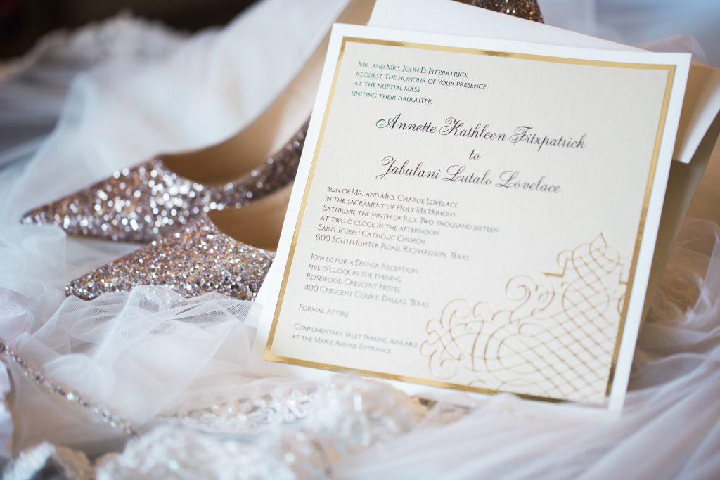 Elegant cream and gold custom invitations.