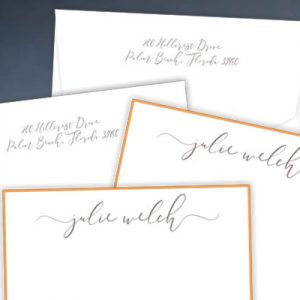 Flat Notecard with Gold Border and Raised Print Script Name