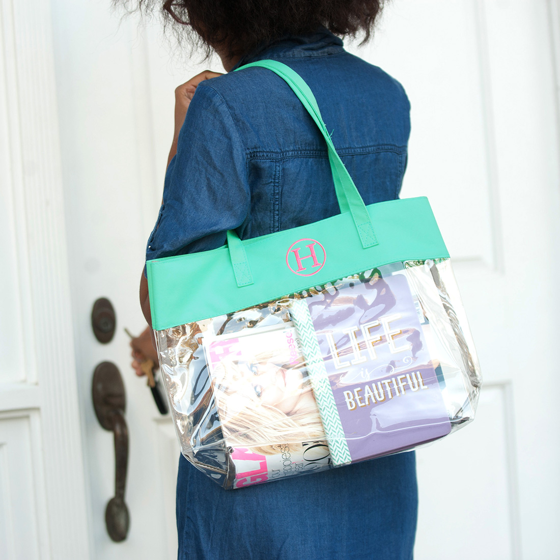 Clear Tote Mint Carryall