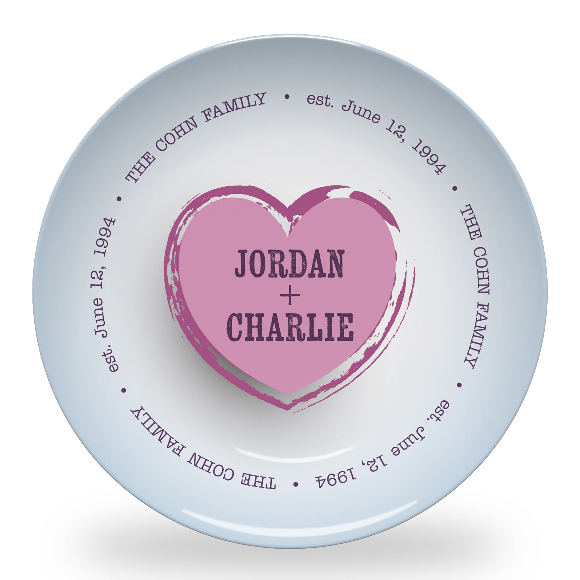 Family Love Plate with Blue Background and Names in Clean Grunge Font