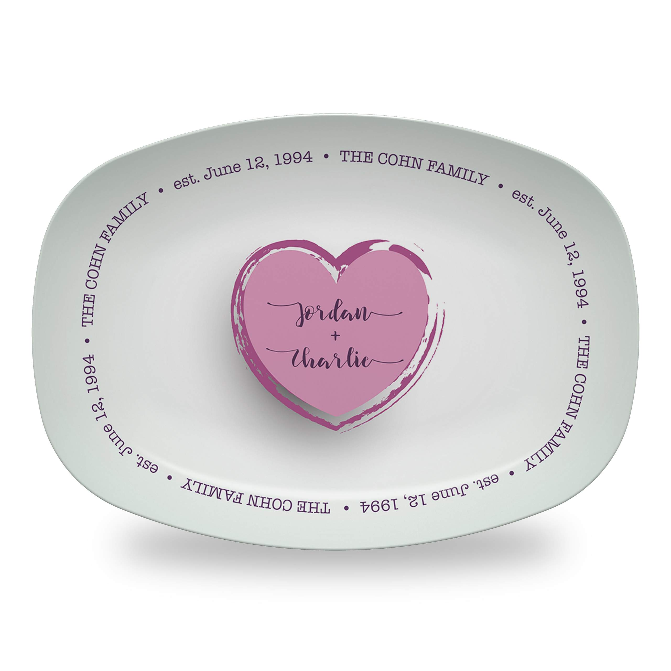 Family Love Platter with Sage Background and Names in Sabrina Font
