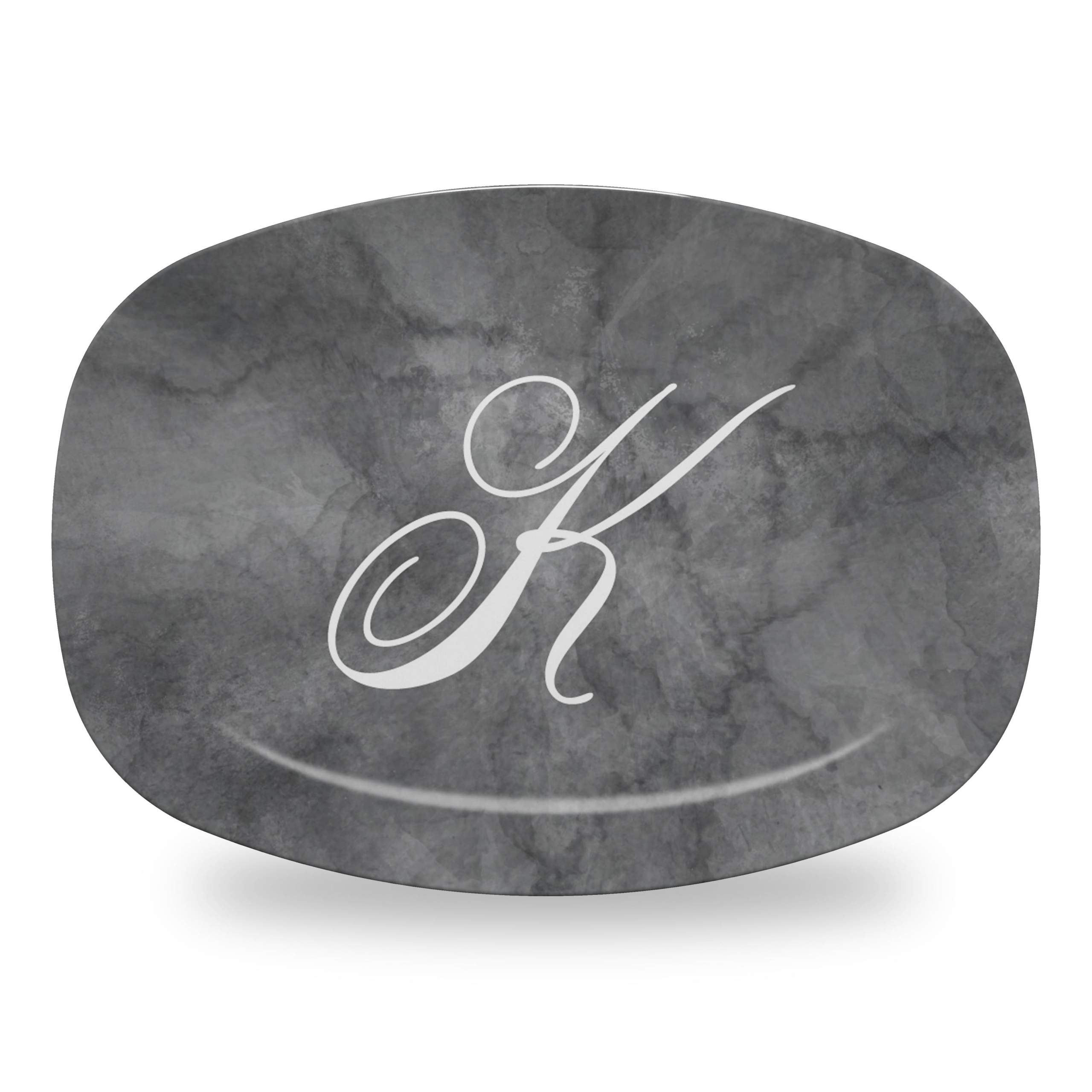Pewter Marble Platter with K Initial in Grace Font