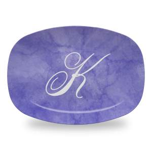 10x14 inch personalized serving platter with purple marbled background and initial in grace font