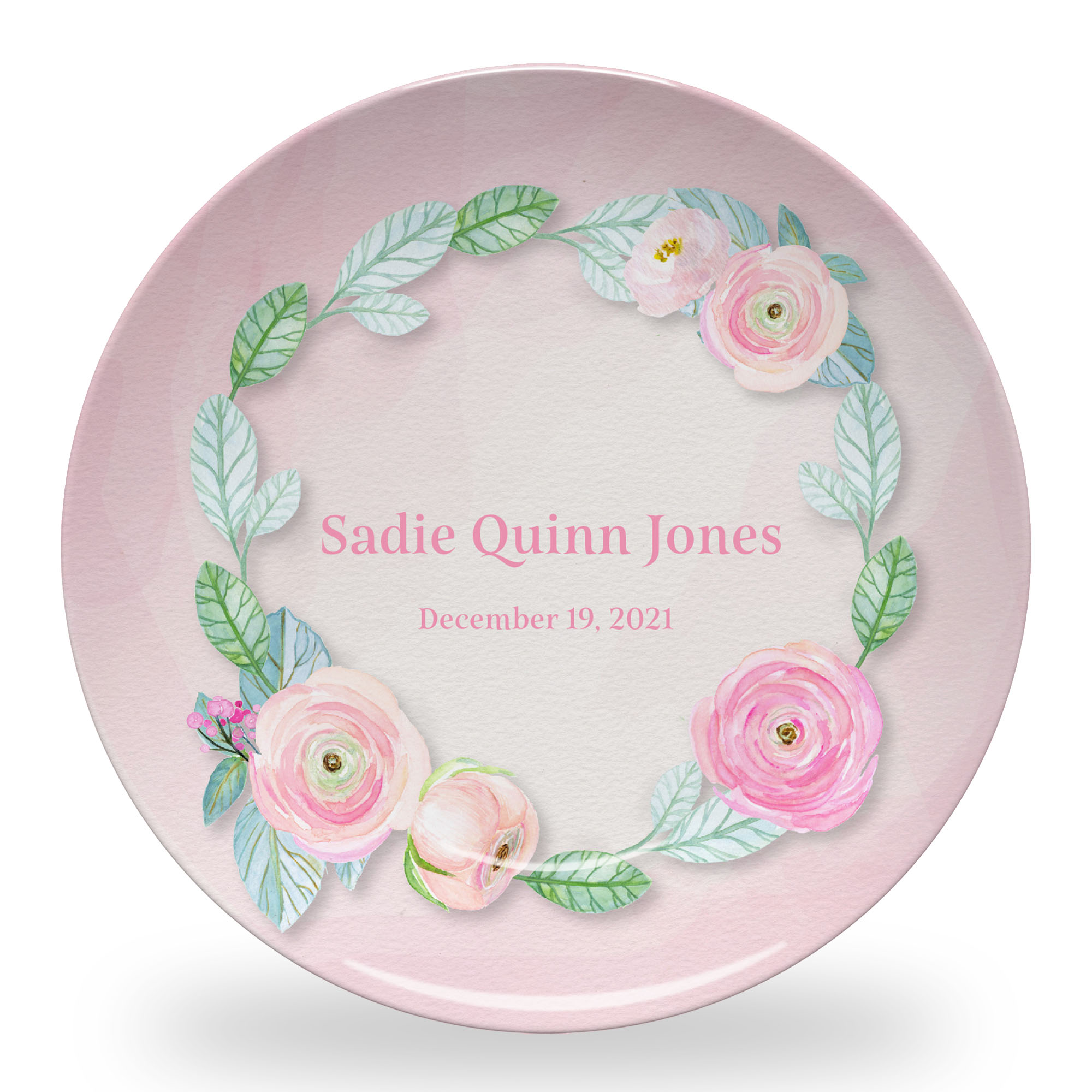 Sweet Flowers Plate with Pink Background, Name and Date in Quinn Font