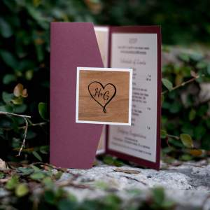 Maroon Wedding Invitation with Pocket and Wood Accents