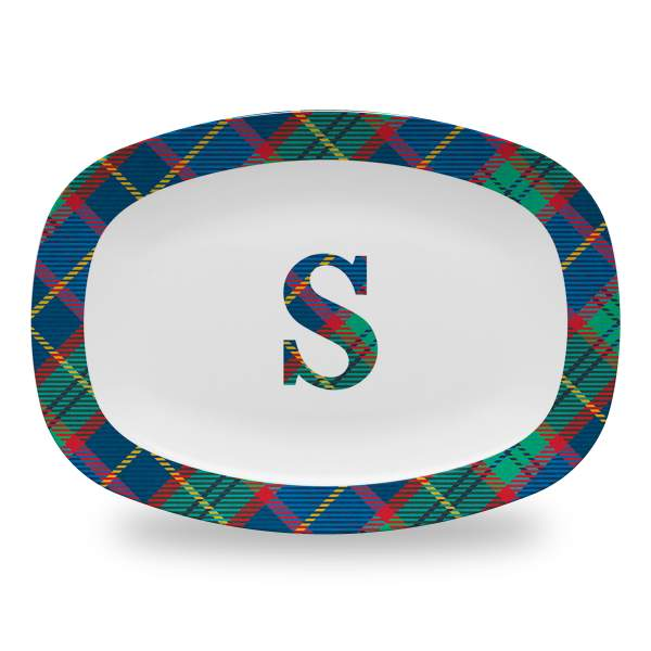10 by 14 inch serving platter with large tartan plaid initial