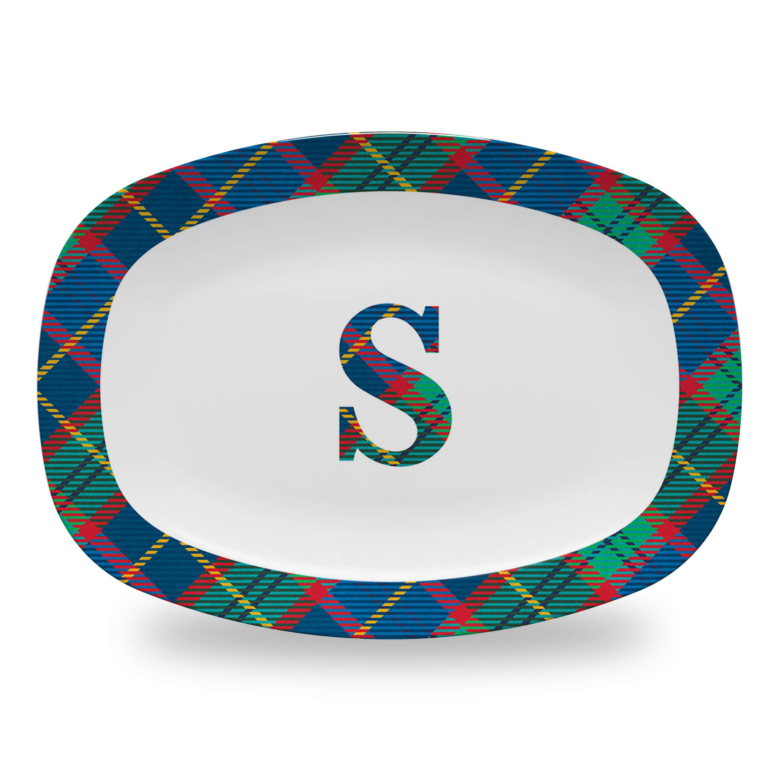 Tartan Platter with Large Plaid Initial