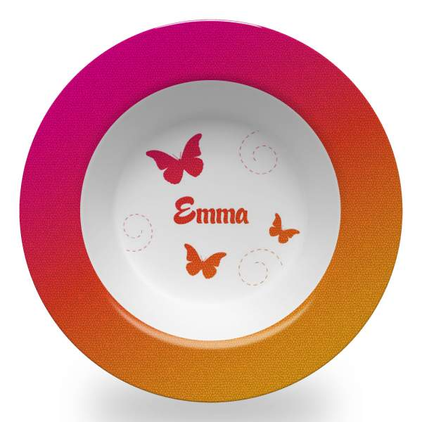 8.5 inch personalized cereal bowl with a sunrise gradient, butterflies, spirals and name in Watermelon font