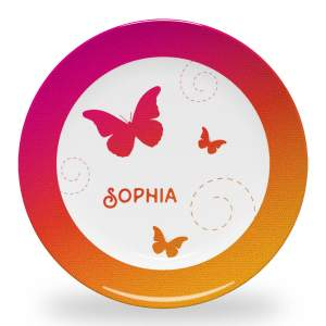 10 inch personalized dinner plate with a sunrise gradient, butterflies, spirals and name in Sail Away font