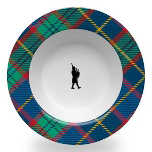 8.5 inch diameter soup bowl with a wide rim in tartan plaid and central bagpiper design