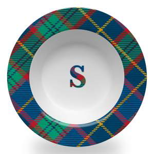 8.5 inch diameter soup bowl with a wide rim in tartan plaid and central plaid initial design
