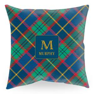 18 inch square throw pillow with tartan plaid background and initial with name