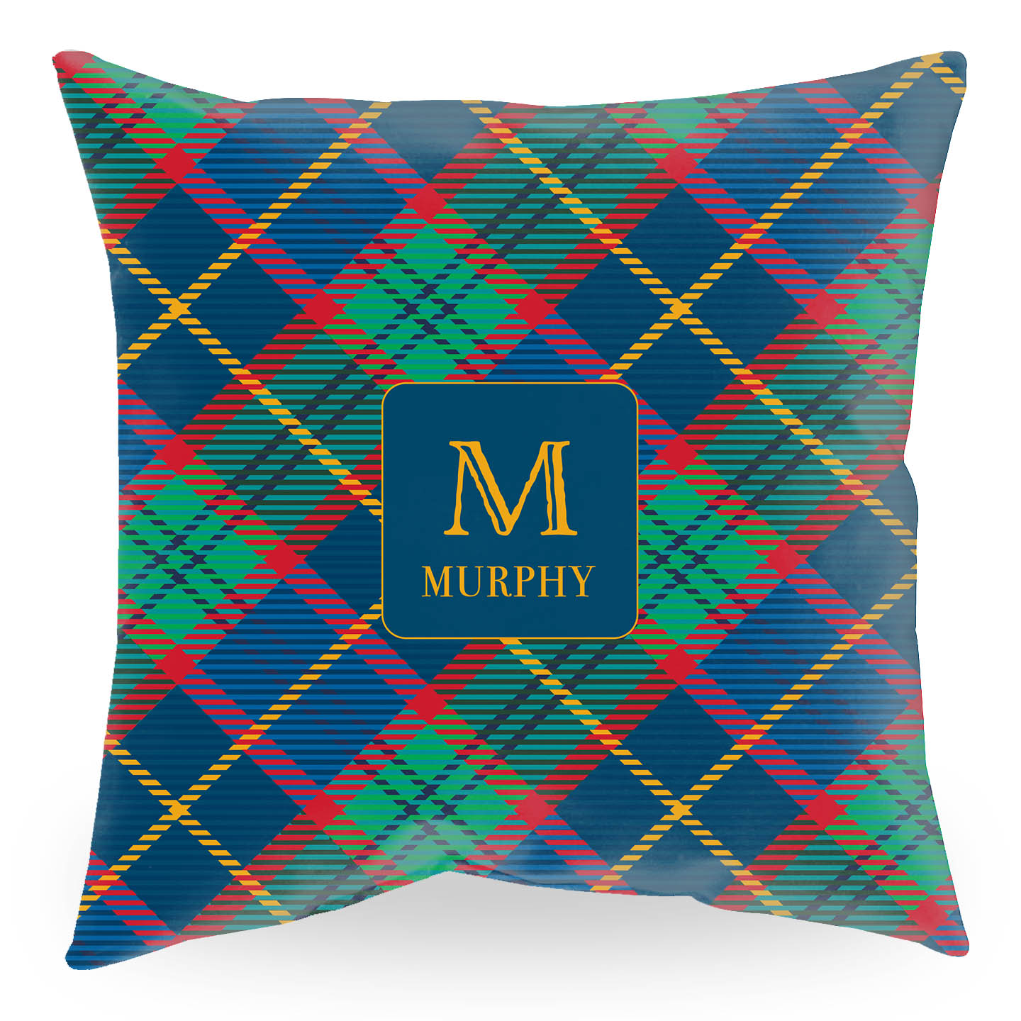 Tartan Throw Pillow with Initial and Name in Maize