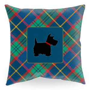 18 inch square throw pillow with tartan plaid background and scottie dog