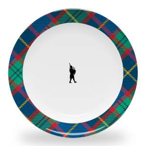 10 inch diameter dinner plate with bagpiper and tartan plaid