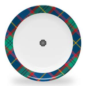 10 inch diameter dinner plate with celtic knot and tartan plaid