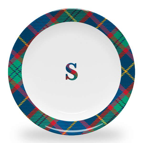 10 inch diameter personalized dinner plate with plaid initial and tartan plaid