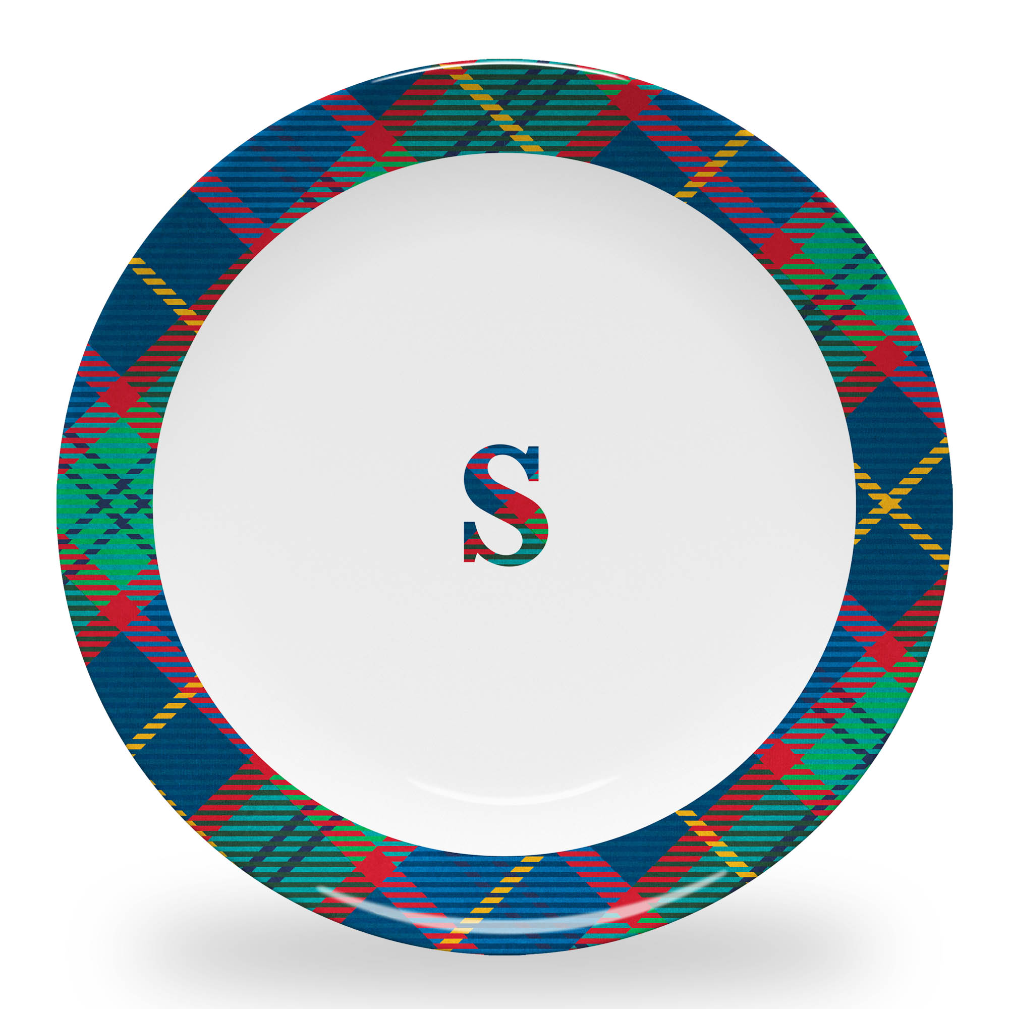 Tartan Plate with Plaid Initial