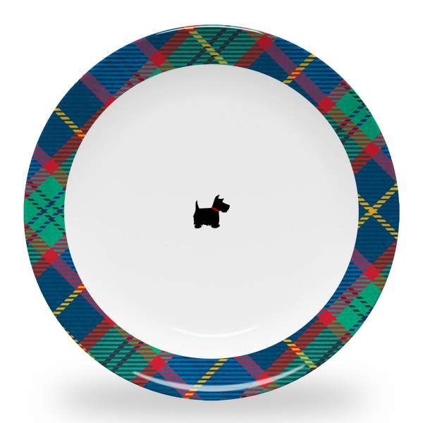 10 inch diameter dinner plate with scottie dog and tartan plaid