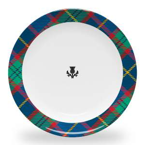 10 inch diameter dinner plate with thistle and tartan plaid