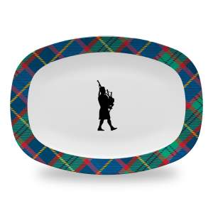 10 by 14 inch tartan plaid serving platter with bagpiper
