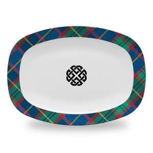 10 by 14 inch tartan plaid serving platter with celtic knot