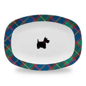10 by 14 inch tartan plaid serving platter with scottie dog design