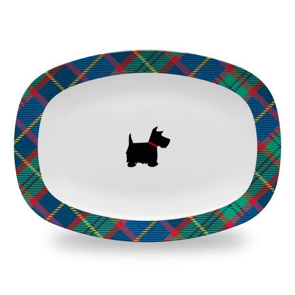 10 by 14 inch tartan plaid serving platter with scottie dog design
