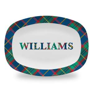 10 by 14 inch serving platter with tartan plaid family name