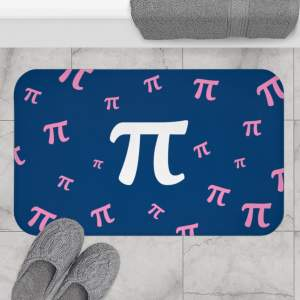 Pi Bath Mat in Navy and Pink