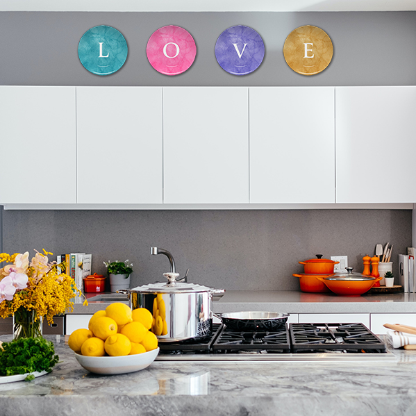 Marble Plates on Kitchen Wall Spelling L.O.V.E.