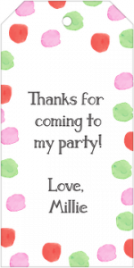 Invite Shop Gift Tag with orange, pink, and green, watercolor dots